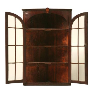 Antique English Georgian Mahogany Glazed Corner Cabinet For Sale
