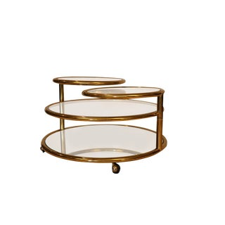 Milo Baughman Style Mid Century Four Tier Brass Glass Swivel Coffee Table For Sale
