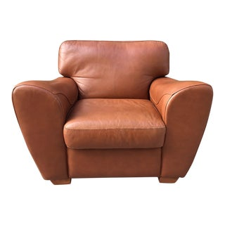 Oversized Italian Leather Club Chair For Sale