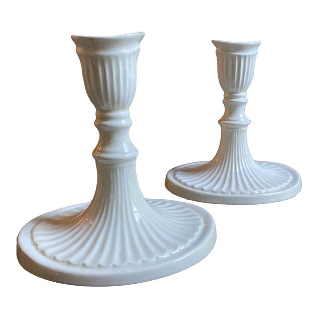 Vintage 1960s Italian White Candlesticks - a Pair For Sale