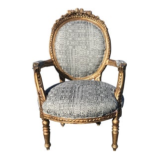Antique French Gilt Carved Louis XVI Upholstered Arm Chair For Sale