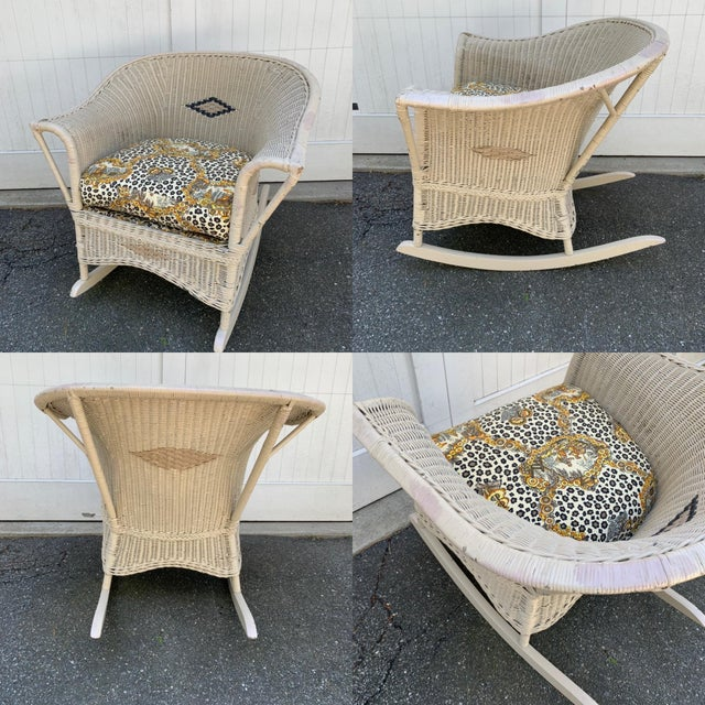 American Vintage Heywood-Wakefield Wicker Sofa Set With Leopard Pattern Cushions - Set of 3 For Sale - Image 3 of 13