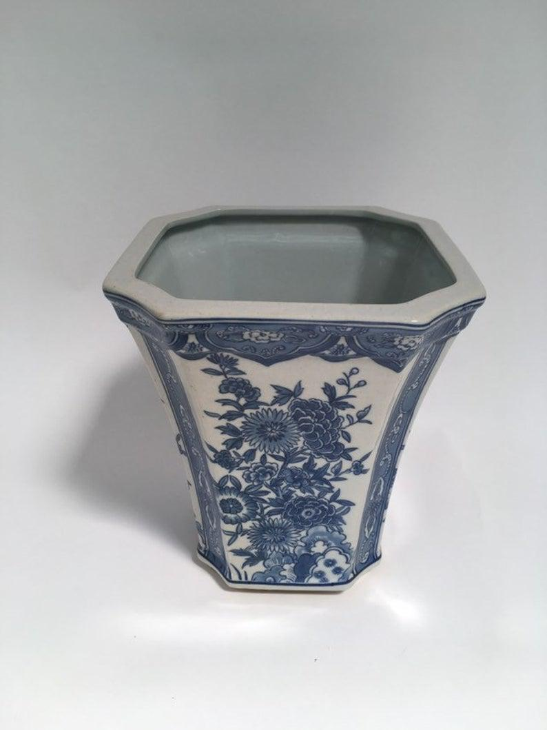 Chinoiserie Blue and White Floral Porcelain Cachepot Planter