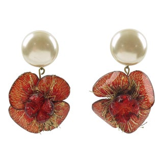 Cilea Paris Signed Floral Dangling Resin Talosel Clip-On Earrings - Set of 2 For Sale