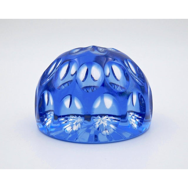 Vintage Blue Crystal Paperweight by Webb Corbett of England For Sale - Image 12 of 12