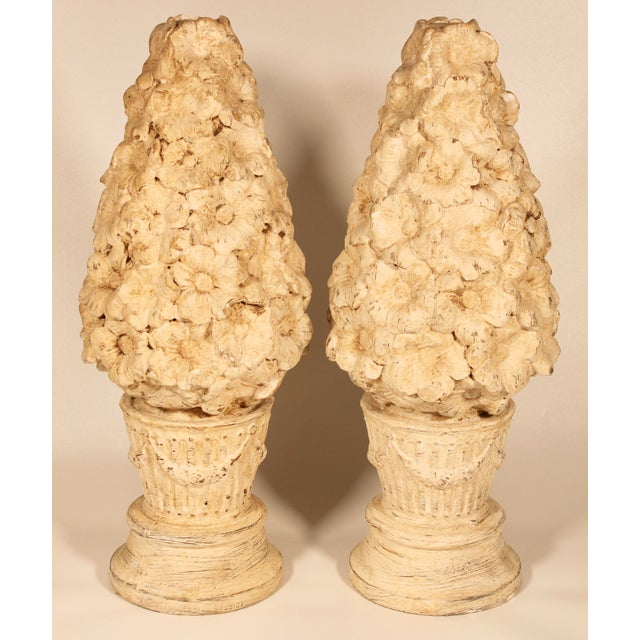 1970s 1970s Ceramic Floral Mantle Topiaries or Garden Statues - a Pair For Sale - Image 5 of 13