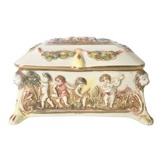 Vintage Capodimonte Porcelain Jewelry Box For Sale