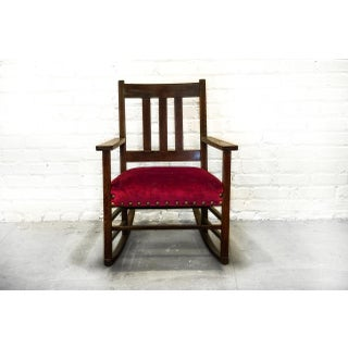 Lovely Craftsman Period Rocking Chair, C. 1915 / Upholstered in Red Velvet Preview