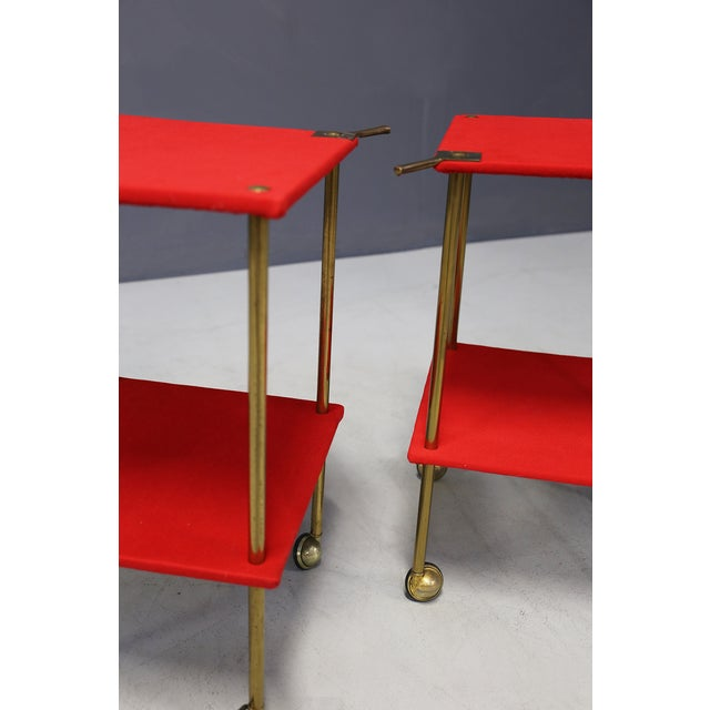Luigi Caccia Dominioni Mod T9 Trolley for Azucena, 1950 Pair of food trolleys; brass, wood covered with red velvet. The...