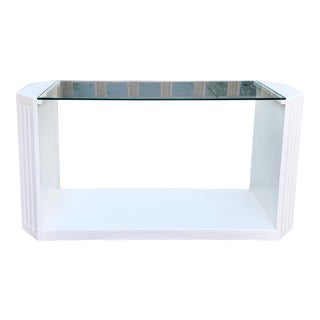 1980's Postmodern Plaster Table With Glass Top For Sale