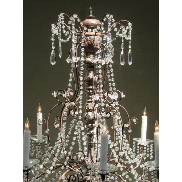 19th Century Italian Baroque Silver Leaf and Crystal Chandelier with Tassel For Sale - Image 4 of 10