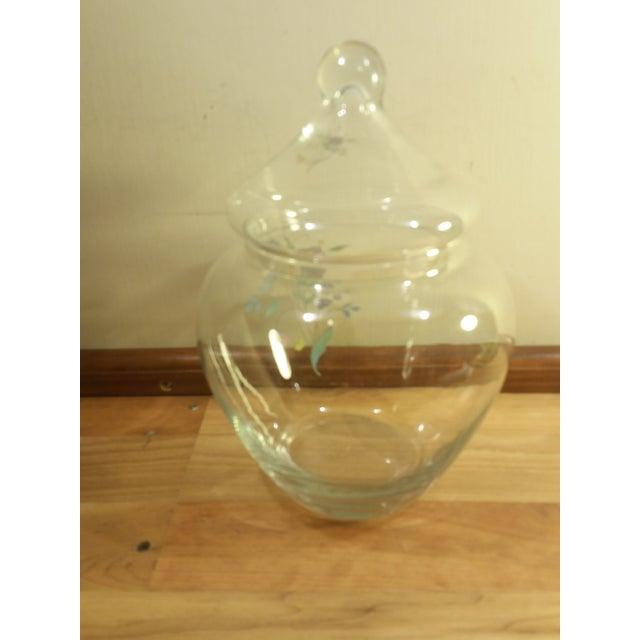 Clear Glass Floral Design Lidded Jar - Image 5 of 6