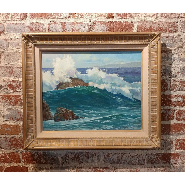 "Paul Youngman ""Pacific Grove - California Seascape"" original oil painting, signed. frame size 22 x 26"" board size 16 x 19""..."