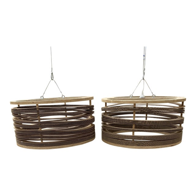 1970s Wooden and Cardboard Chandeliers - a Pair** For Sale