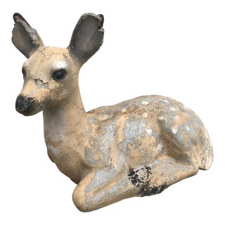 1950s Vintage Concrete Deer Garden Statue For Sale