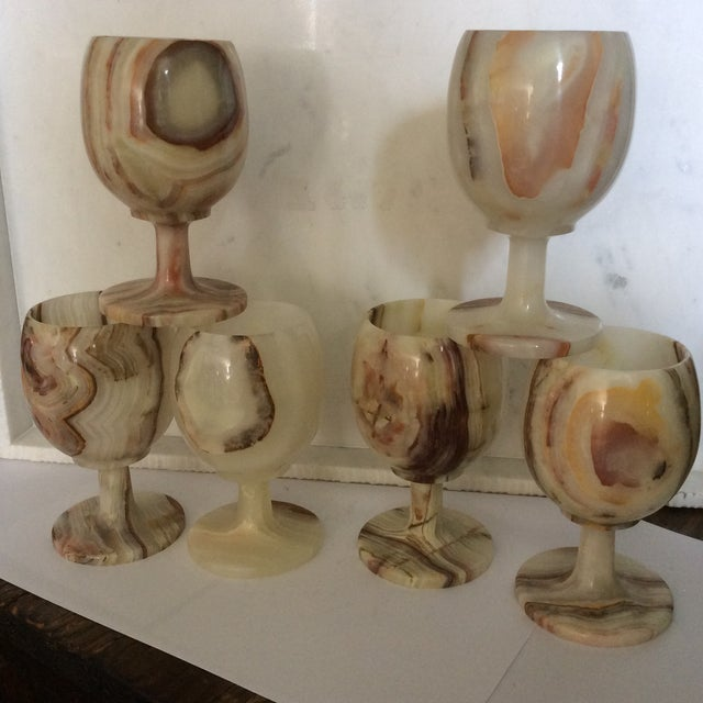 Carved Onyx Wine Glass Goblets - Set of 6 - Image 2 of 8