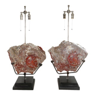 Petrified Wood Lamps - a Pair For Sale