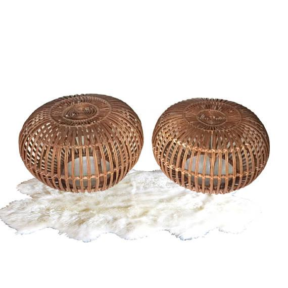 "Boho Chic Mid Century Modern Side Tables Albini Rattan Ottomans 24"" - A PAIR For Sale - Image 3 of 12"