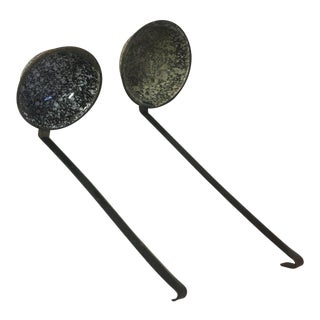 Antique Brown Granite Ladles- a Pair