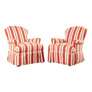 Contemporary Rolled Arm Striped Lounge Chairs - a Pair For Sale
