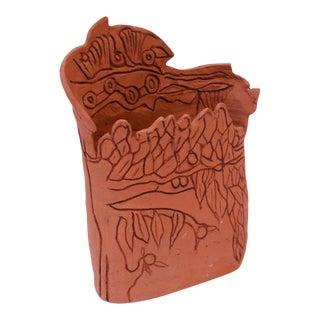 """Studio Terracotta """"Tree"""" Vase Signed For Sale"""