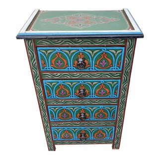 Moroccan Hand Painted Green Wooden Nightstand For Sale