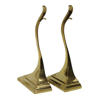 Brass Free Form 1920s Neoclassic Georgian Door Stops Stamped T2786 - a Pair For Sale