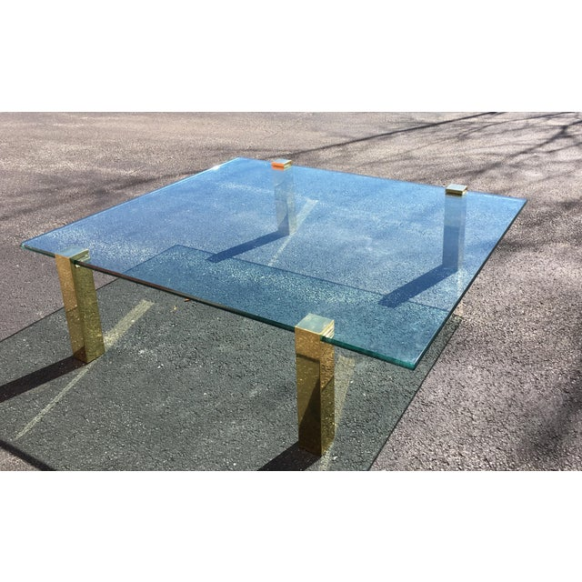1970s Vintage Pace Collection Style Brass and Floating Glass Coffee Table For Sale In Chicago - Image 6 of 6