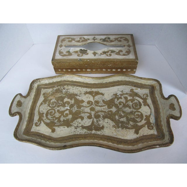 Gold Florentine Tissue Box Holder & Tray For Sale - Image 8 of 8