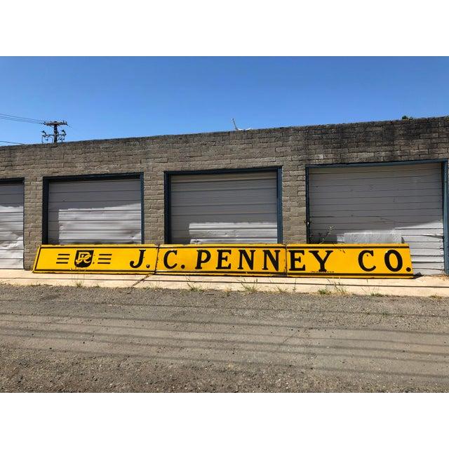 1920s Antique j.c. Penney Co. 3-Panel Baked Enamel Metal Sign For Sale - Image 10 of 10