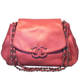 Chanel Coral Leather Top Flap Shoulder Bag For Sale