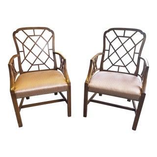 Classic Chinese Chippendale Armchairs - a Pair For Sale