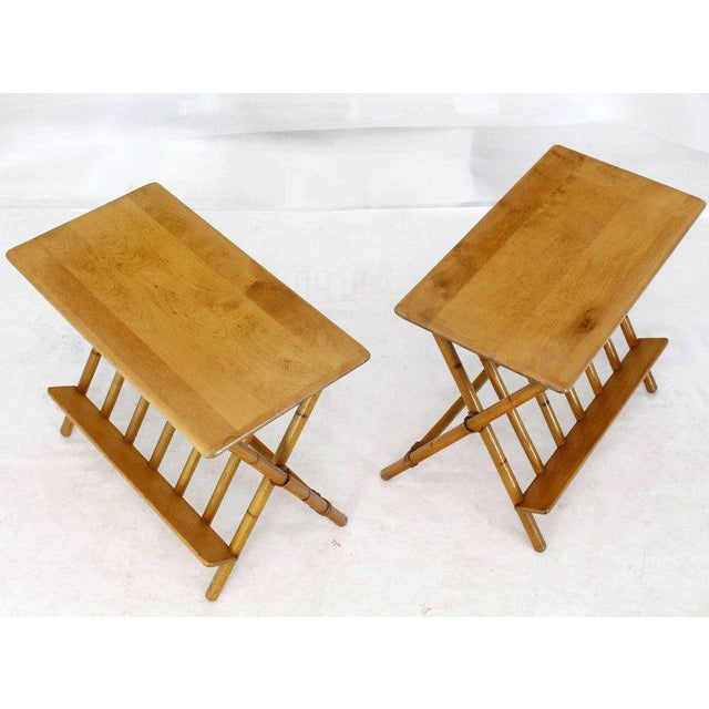 Brown Pair of Faux Burnt Bamboo X-Base Rectangular Side End Tables With Magazine Rack For Sale - Image 8 of 12