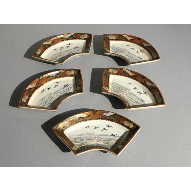 Japanese Meiji Period Kutani Fan Shaped Dishes, Set of Five - Image 4 of 10