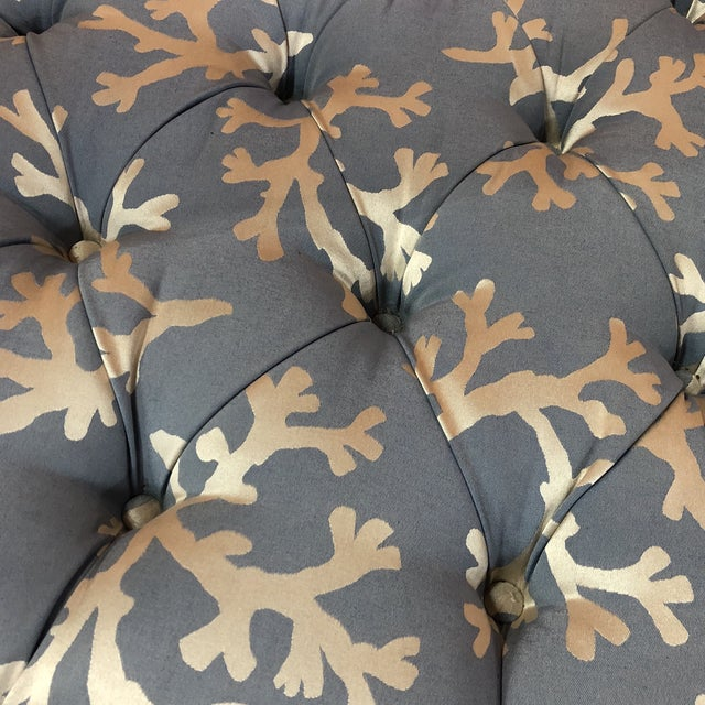 Astounding Blue Coral Tufted Ottoman With Skirted Upholstery Beatyapartments Chair Design Images Beatyapartmentscom