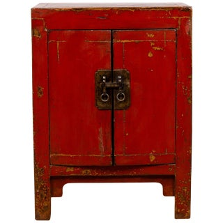 Chinese Red Lacquered Qing Dynasty Style Bedside Cabinet With Distressed Finish For Sale