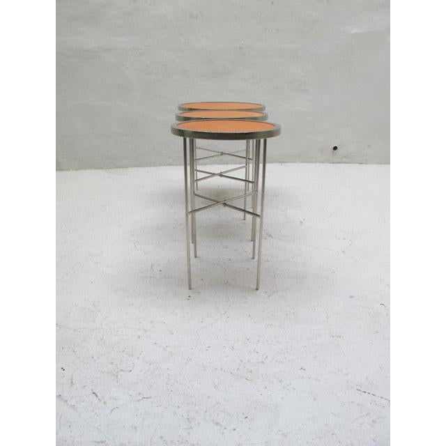 Industrial Saddle Leather Topped End Table For Sale - Image 3 of 7