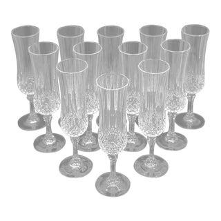"""Vintage French Cristal D' Arques """"Longchamp"""" Champagne Flutes - Set of 12"""