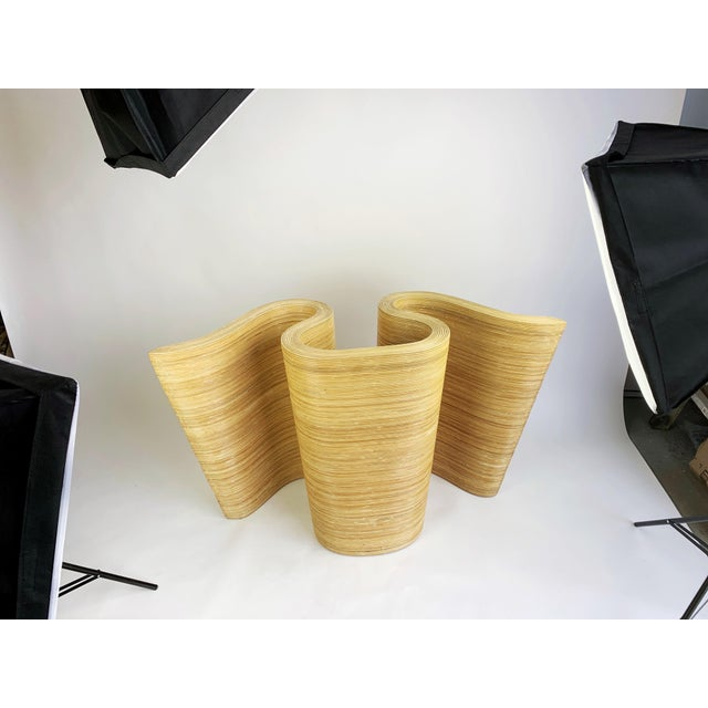 Pencil Reed Bamboo Curvy Ribbon Scroll Console Aft Gabriella Crespi For Sale - Image 12 of 13