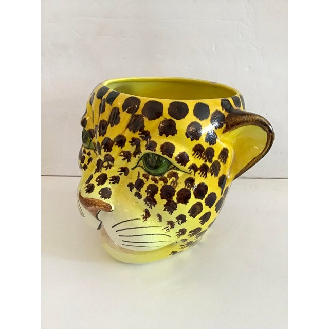 1960s Yellow and Brown Spotted Leopard Cache Pot For Sale - Image 4 of 7