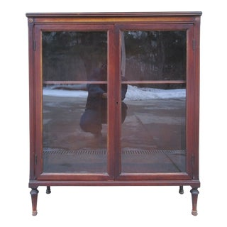 Antique Glass Front Bookcase With Floral Motif For Sale
