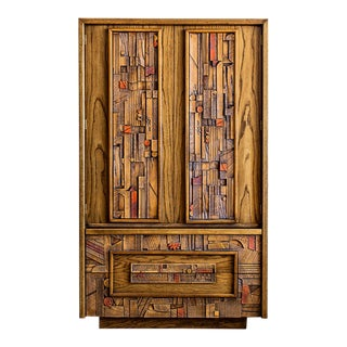 "1970s Lane ""Pueblo"" Brutalist Armoire Dresser For Sale"
