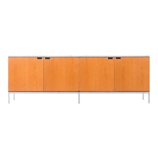 Florence Knoll White Oak Credenza with Carrara Marble Top