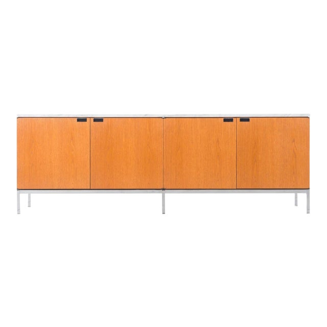 Florence Knoll White Oak Credenza with Carrara Marble Top For Sale