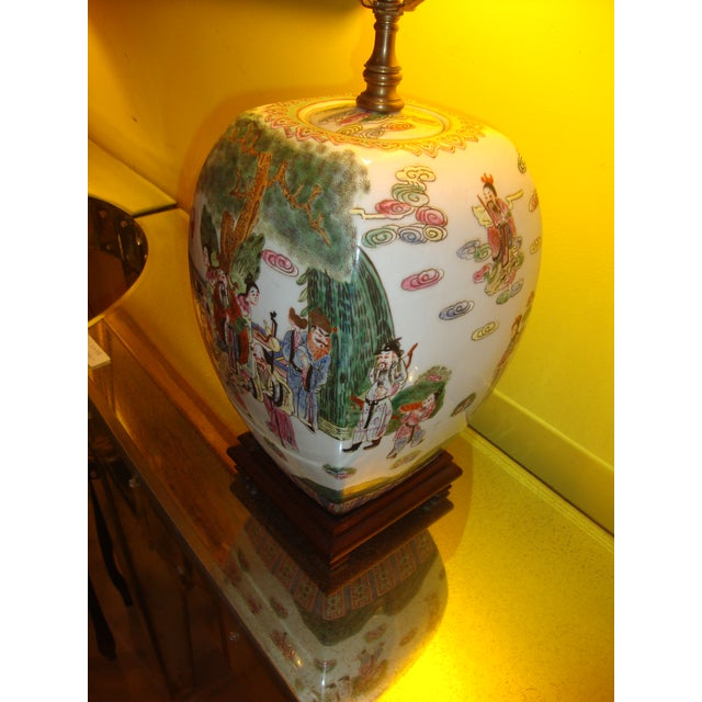 Chinese Export Porcelain Painted Ginger Jar Table Lamps- A Pair - Image 5 of 10