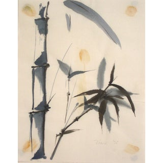 1975 Ink Wash and Watercolor Painting of Bamboo on Paper For Sale