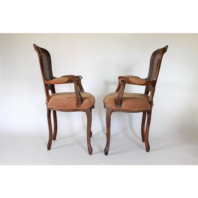 French Caned Fauteuils, a Pair For Sale - Image 3 of 10