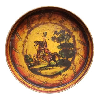 Circa 1860 French Infantry Soldier Motif Hand Painted Tole Tray Made in France For Sale