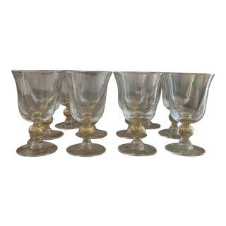 Vintage Gold Italian Murano Glass Swirl Wine Glasses – Set of 10 For Sale