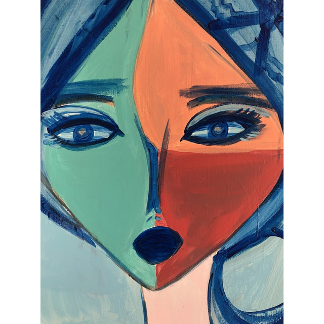 """Original acrylic painting on gallery wrapped canvas of abstract portrait titled on verso, """"Cléo"""" in vibrant colors of hot..."""